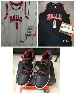 Adidas Derrick Rose Drose D rose Chicago Bulls jersey basketball shoes set