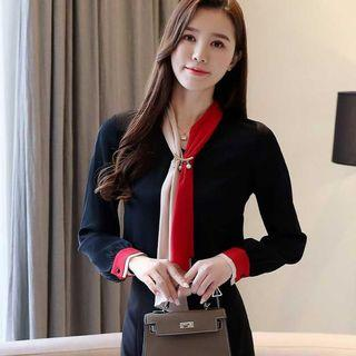 AFFNIQCHIC Cadence,Fashion Korean Style Women Long Sleeve Chiffon  Blouse