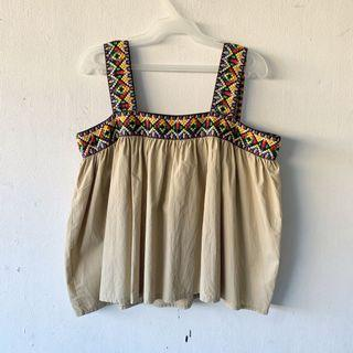 Aztec Embroidered Sleeveless Top