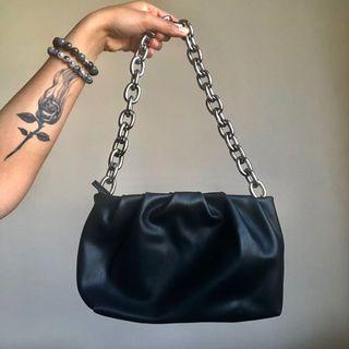 Black Chain Baguette Mini Bag