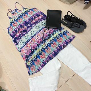 買一送一(Cotton On 背心+白色哈倫褲)可加購Moda藍色真皮尖頭娃娃鞋