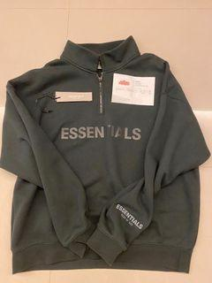 Essentials 半拉鏈衛衣 全黑(L)