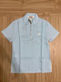 全新絕版!Fred Perry Nigel Cabourn 藍色特殊設計Polo衫上衣-34號