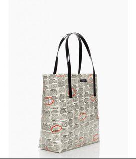 Kate Spade Tote Bag Bon Shopper Newspaper Print