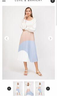 Love and bravery pleat midi skirt