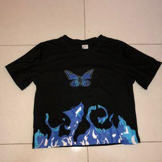 (new) blue butterfly flame black crop top