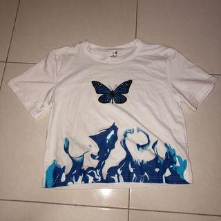 (new) blue butterfly flame white crop top