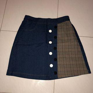 (new) dark denim side checkered button down skirt with safety shorts