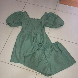 (new) green babydoll top + short set