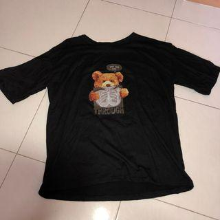 (prelove) you can see me through bear xray black tshirt