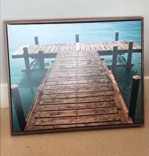 Turquoise water and dock artwork and frame