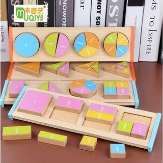 Wooden Mathematics Blocks Puzzle Division ver/Puzzle Matematika/Balok Matematika/Mainan Edukasi Anak
