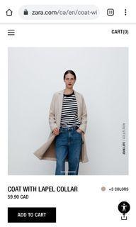 Zara Lapel Coat size S (Sand color)