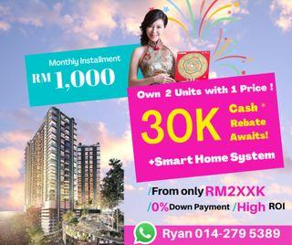 2 Units With 1 Price ! !【Lelong Price 240K】Near by KLIA @ Ready Tenant