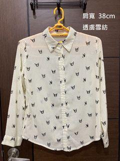 鬥牛犬米色透膚雪紡格紋襯衫