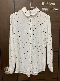 白底黑點雪紡襯衫