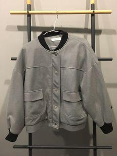 藍灰色落肩短版外套