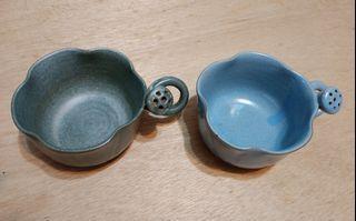 荷花釉燒陶杯