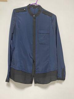 絲質襯衫-藍黑拼貼造型