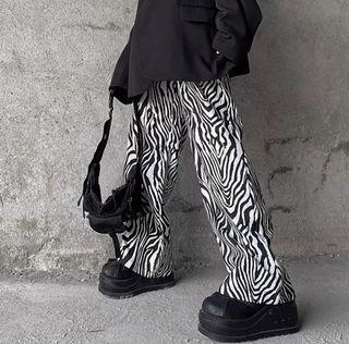 全新ㄉ復古斑馬紋落地褲 寬褲