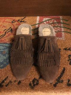 日本 麂皮 流蘇 毛毛 低跟鞋 23.5-24.5可穿