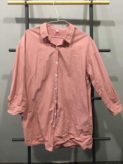 AS 中袖粉色長版襯衫