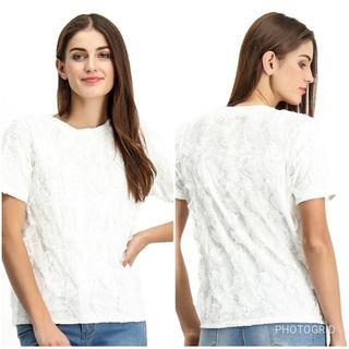BENCH Lace Short Sleeve Top, Fits XL (Off White)