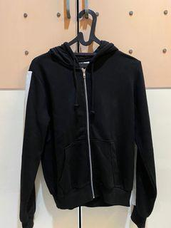 black jacket white line h&m