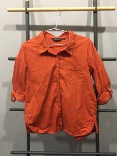 DITA橘色短版襯衫