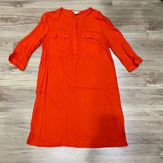 H&M bright orange red long top dress 亮橘紅色長版上衣洋裝