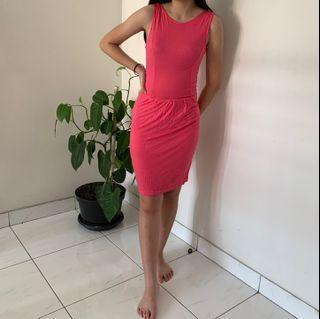 Mango - Pink mini jersey dress