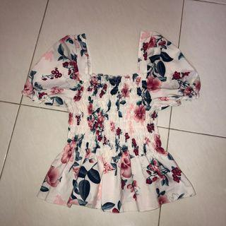 (new) floral print white smock babydoll top