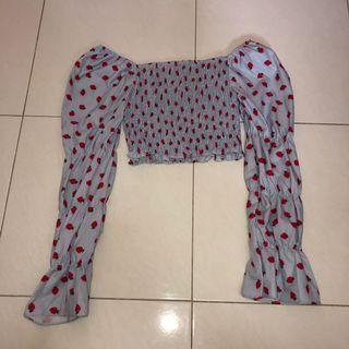 (new) strawberry print long sleeve on & off shoulder blue smock crop top