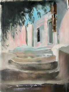 Oil paintings sketch in Santorini