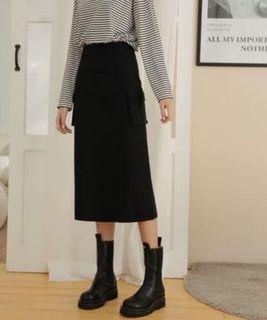 Pazzo 黑裙 中長裙 黑長裙 修身裙 口袋裙 短裙 洋裝
