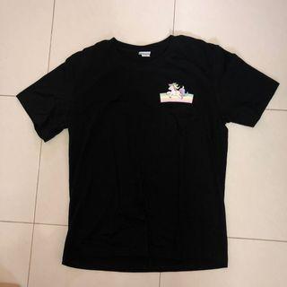 (prelove) side unicorn print oversize black tshirt
