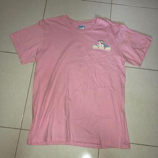 (prelove) side unicorn print oversize pink tshirt