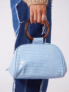 全新現貨✨skinnydip 淺藍色鱷魚皮壓紋圓環手提包