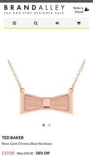 Ted Baker Rose Gold Chroma Bow Necklace 玫瑰金女裝頸鏈 全新 原價$650