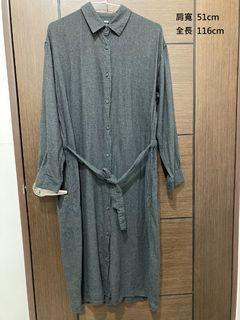 Uniqlo深灰綁帶襯衫洋裝