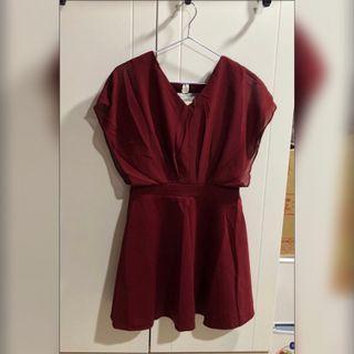 全新🎈V領洋裝(酒紅色)#LovelsLove