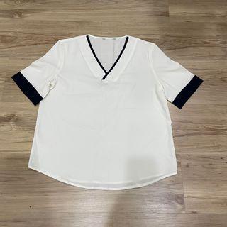 White shirt 白色藍邊短袖上衣