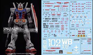 [Yan] PG Unleashed RX-78 2 Gundam Waterslide Decal 1/60 Ghost Custom Design PGU