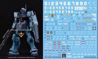 [Yan] MG GM Sniper 2.0 Gundam Waterslide Decal 1/100 Ghost Custom Design