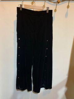 Zara黑色絲絨寬褲