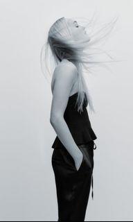 Zara black satin cargo pants