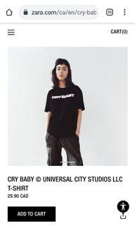 Zara graphic CRY-BABY licensed t shirt