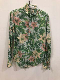 Zara kemeja bunga hijau seksi