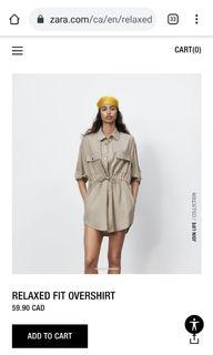 Zara stone colored relaxed fit overshirt
