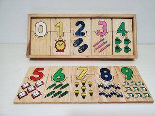 幼兒玩具木製拼圖數學拼板0~9數學配對啟蒙教學